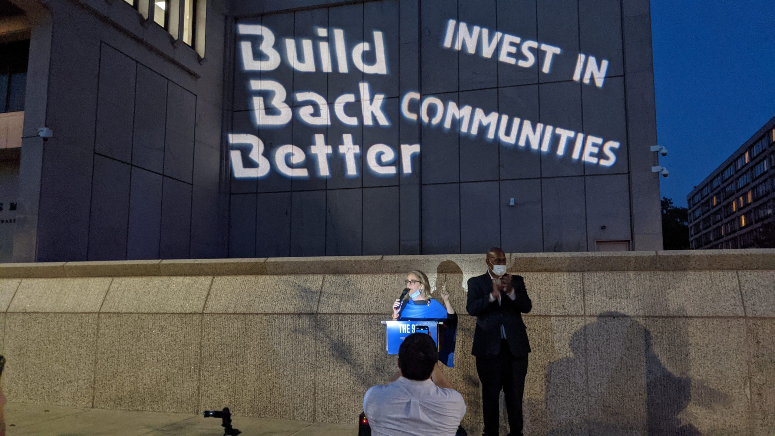Rep. Madeleine Dean and Rep. Dwight Evans speak at Build Back Better event in front of the U.S. Mint in Philadelphia..